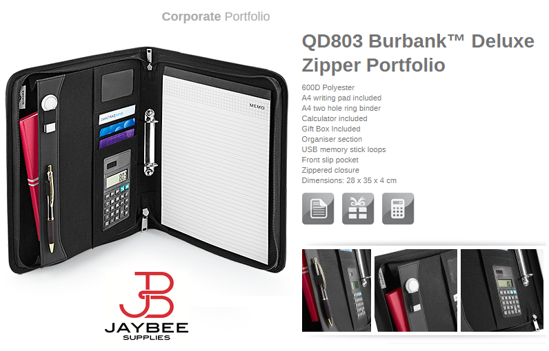 Quadra Burbank Deluxe Zipper Portfolio