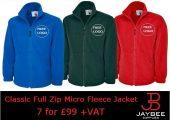 7 Uneek Classic Full Zip Micro Fleece Jackets for £99 +VAT…